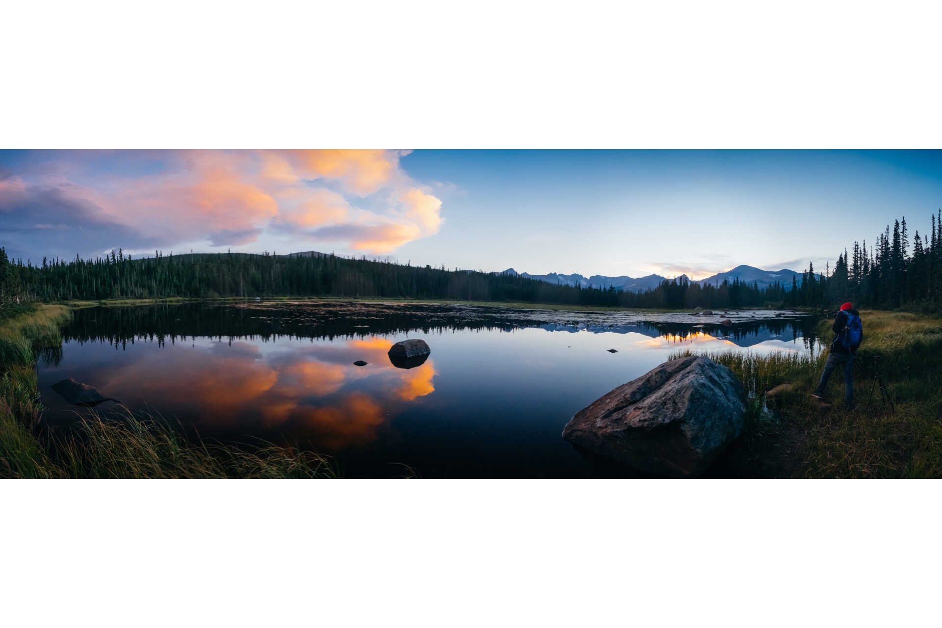Sunset panorama at Bear Lake in Rocky Mountain National Park