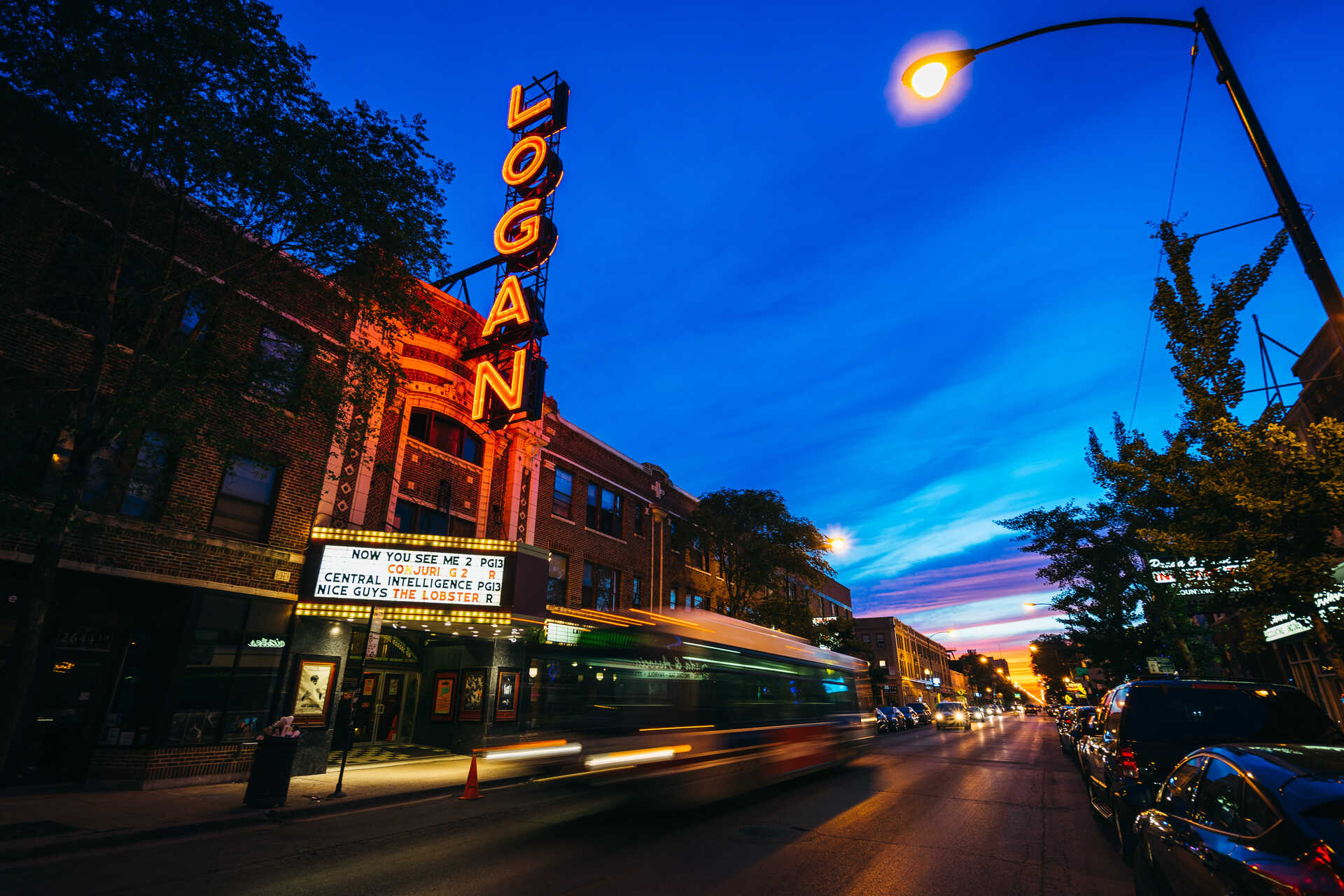 Blue hour long exposure of The Logan Theatre in Chicago, Illinois