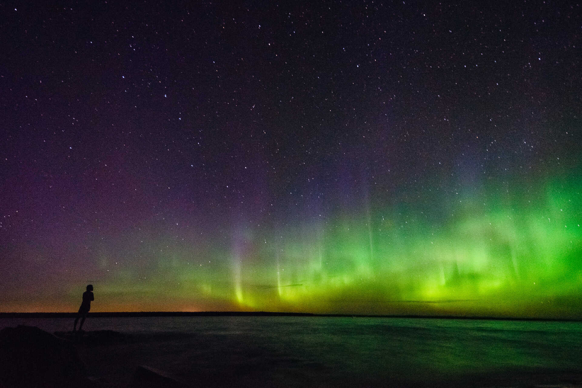 The Northern Lights at Rabbit Island in Torch Lake Township, Michigan