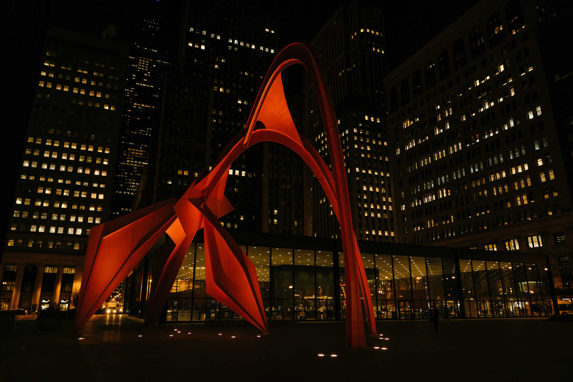 The Flamingo by Alexander Calder in Chicago, Illinois